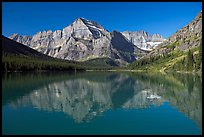 Lake Josephine and Mt Gould, morning. Glacier National Park, Montana, USA. (color)