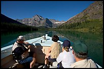 Riding the tour boat on Lake Josephine. Glacier National Park, Montana, USA.