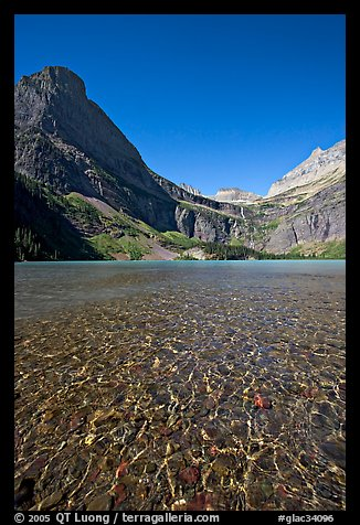 Pebbles, Grinnell Lake and Angel Wing, morning. Glacier National Park (color)