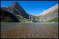 Pebbles in Grinnell Lake, Angel Wing, and the Garden Wall. Glacier National Park, Montana, USA.