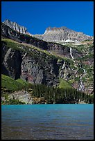 Grinnell Falls and Grinnell Lake turquoise waters. Glacier National Park, Montana, USA.
