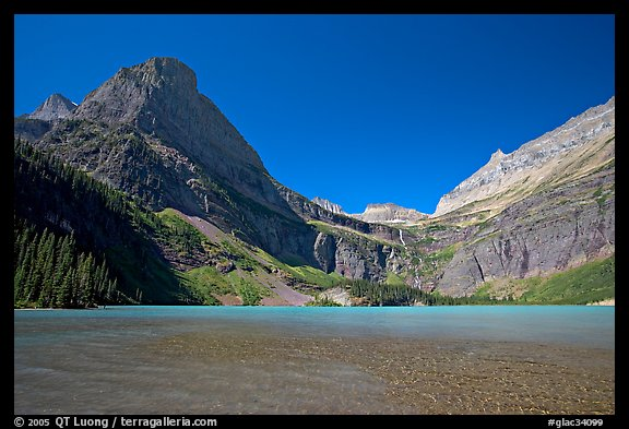 Grinnell Lake, Angel Wing, and the Garden Wall. Glacier National Park (color)