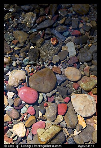 Colorful pebbles and shadow. Glacier National Park (color)