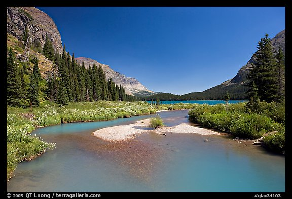 Stream at the head of Josephine Lake. Glacier National Park (color)