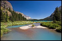 Stream at the head of Josephine Lake. Glacier National Park, Montana, USA. (color)