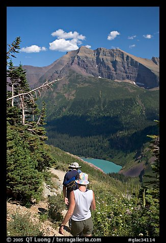 Hiking down the Grinnell Glacier trail, afternoon. Glacier National Park (color)