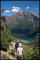 Hiking down the Grinnell Glacier trail, afternoon. Glacier National Park, Montana, USA. (color)