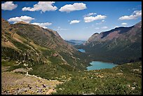 Many Glacier Valley with Grinnell Lake and Josephine Lake. Glacier National Park, Montana, USA. (color)