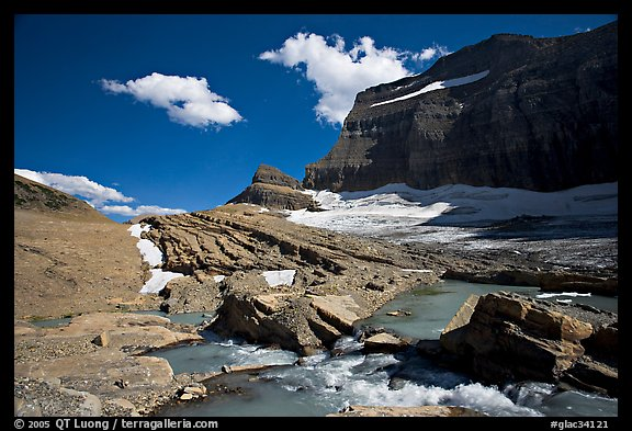 Outlet stream, Grinnell Glacier and Garden Wall. Glacier National Park, Montana, USA.