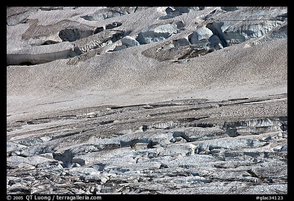 Crevasses on Grinnell Glacier, the largest in the Park. Glacier National Park (color)