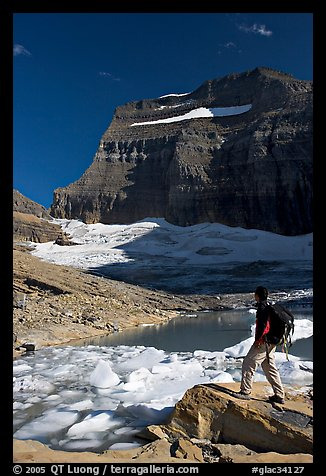 Hiker with backpack surveying Grinnell Glacier. Glacier National Park (color)