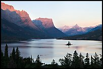 St Mary Lake, Lewis Range, sunrise. Glacier National Park, Montana, USA. (color)
