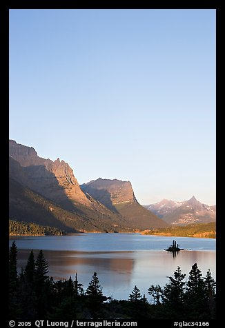 St Mary Lake and Wild Goose Island at sunrise. Glacier National Park (color)