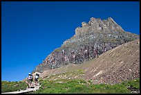Two backpackers descending on trail near Logan Pass. Glacier National Park, Montana, USA.