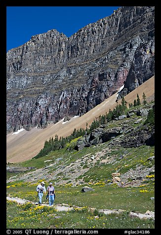 Couple hiking on trail amongst wildflowers near Hidden Lake. Glacier National Park (color)