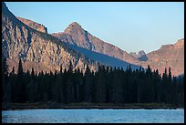 Lone Walker Mountain and treeline above Two Medicine Lake. Glacier National Park ( color)