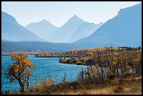 Saint Mary Lake and Continental Divide in autumn. Glacier National Park ( color)