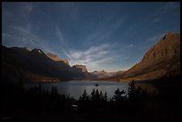 Saint Mary Lake at night with light from rising moon. Glacier National Park ( color)