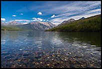 Kintla Lake with underwater colorful cobblestones. Glacier National Park ( color)
