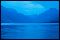 Blue colors of Lake McDonald at dusk. Glacier National Park ( color)