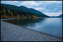 Gravel beach in autumn, Lake McDonald. Glacier National Park ( color)