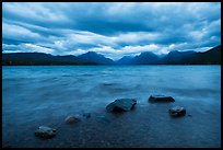 Rain clouds, turbulent waters, and rocks, Lake McDonald. Glacier National Park ( color)