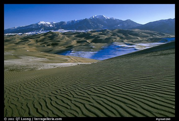 Dune field and Sangre de Christo mountains in winter. Great Sand Dunes National Park (color)