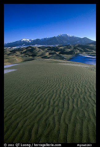 Sand ripples and Sangre de Christo mountains in winter. Great Sand Dunes National Park and Preserve (color)