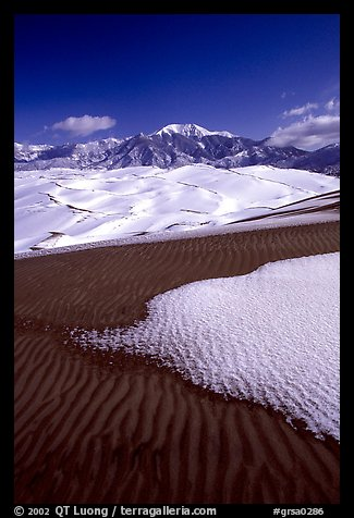 Sand dunes with snow patches. Great Sand Dunes National Park and Preserve (color)