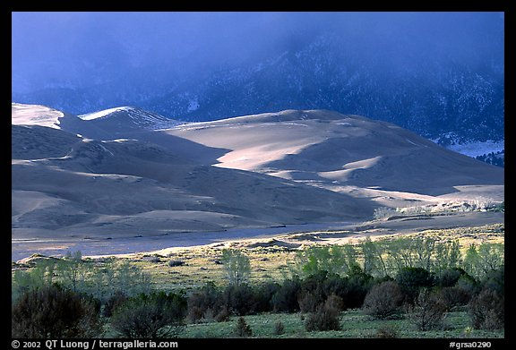 Storm light illuminates portions of the dune field. Great Sand Dunes National Park and Preserve (color)
