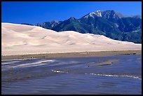 Mendonca creek, dunes and Sangre de Christo mountains. Great Sand Dunes National Park, Colorado, USA.