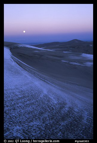 Dunes at dawn with snow and moon. Great Sand Dunes National Park (color)