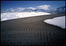 Ripples in partly snow-covered sand dunes. Great Sand Dunes National Park, Colorado, USA.