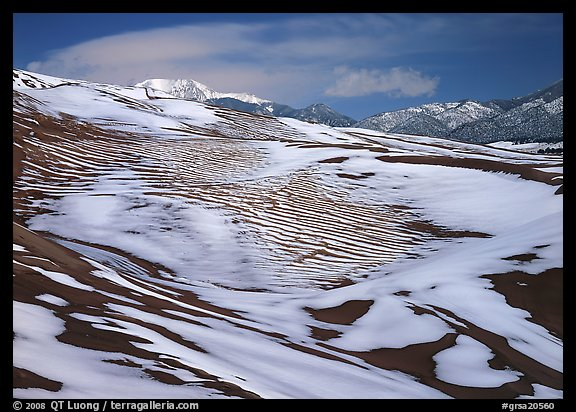 Melting snow on the dunes. Great Sand Dunes National Park, Colorado, USA.
