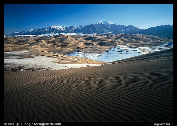 Rippled dunes and Sangre de Christo mountains in winter. Great Sand Dunes National Park and Preserve (color)