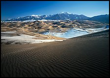 Rippled dunes and Sangre de Christo mountains in winter. Great Sand Dunes National Park and Preserve, Colorado, USA.