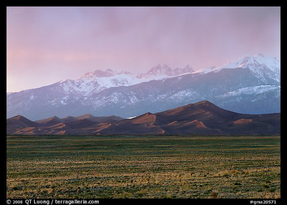Flats, sand dunes, and snowy Sangre de Christo mountains. Great Sand Dunes National Park (color)