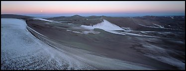 Dune field in winter at dawn. Great Sand Dunes National Park and Preserve (Panoramic color)
