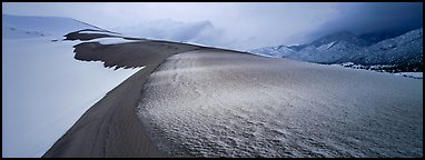 Sand dune scenery in winter. Great Sand Dunes National Park and Preserve (Panoramic color)