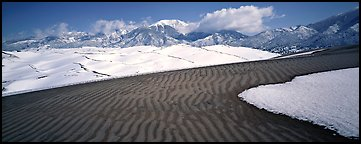 Scenic view of dunes in winter. Great Sand Dunes National Park and Preserve (Panoramic color)