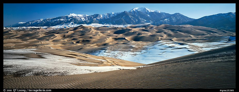 Landscape of sand dunes and mountains in winter. Great Sand Dunes National Park and Preserve (color)