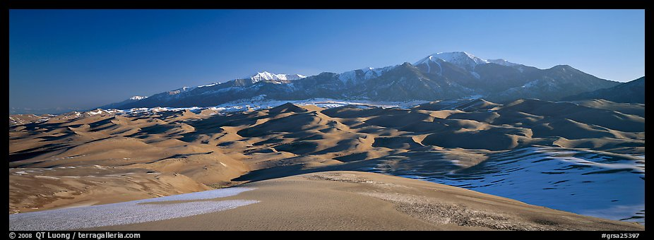 Sand dunes and Sangre de Christo mountains in winter. Great Sand Dunes National Park and Preserve (color)