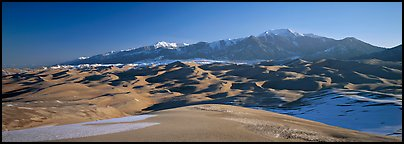 Sand dunes and Sangre de Christo mountains in winter. Great Sand Dunes National Park and Preserve (Panoramic color)