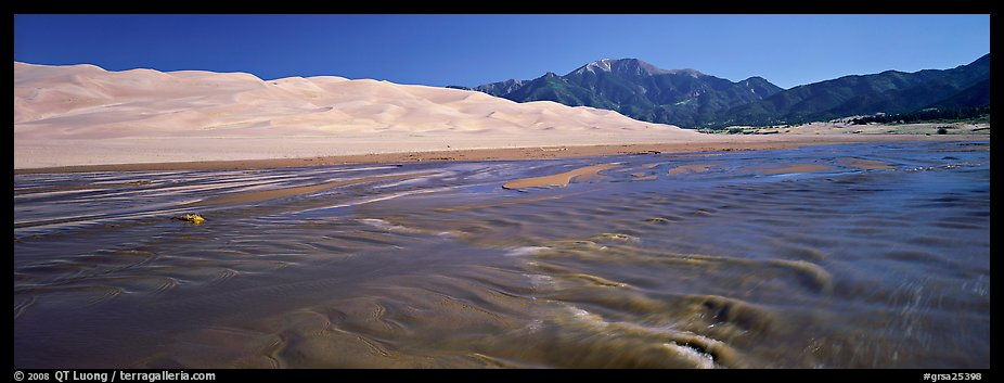 Wide shallow creek at the base of dune field. Great Sand Dunes National Park and Preserve (color)