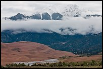 Dunes and Medano creek below snowy mountains. Great Sand Dunes National Park, Colorado, USA. (color)