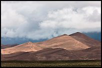 Tall dunes and low clouds. Great Sand Dunes National Park, Colorado, USA. (color)