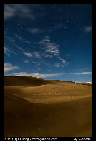 Dunes with starry sky at night. Great Sand Dunes National Park and Preserve (color)