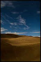 Dunes with starry sky at night. Great Sand Dunes National Park, Colorado, USA. (color)