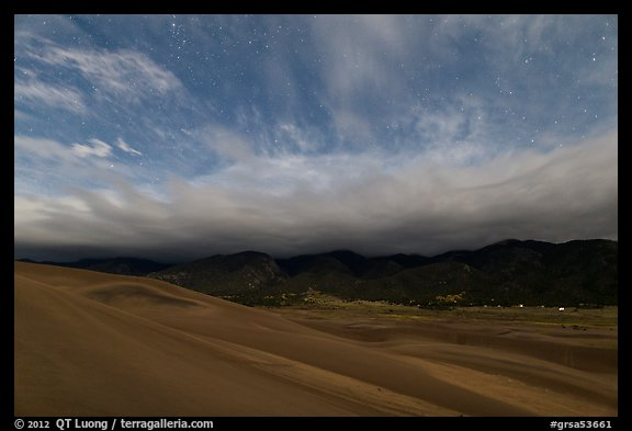 Dunes and clouds at night. Great Sand Dunes National Park and Preserve (color)