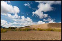 Dried Medano Creek and sand dunes in autumn. Great Sand Dunes National Park, Colorado, USA. (color)